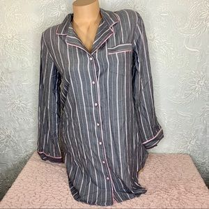 Victoria's Secret Flannel Stripe Sleep Shirt Small